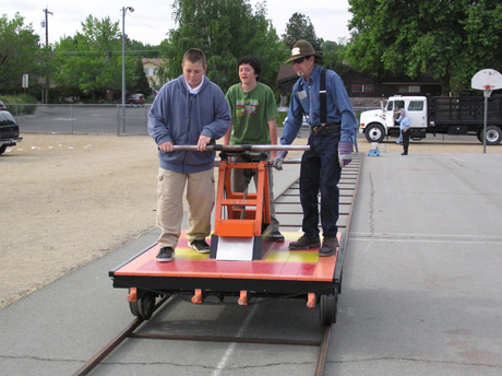 Handcar ride with John
